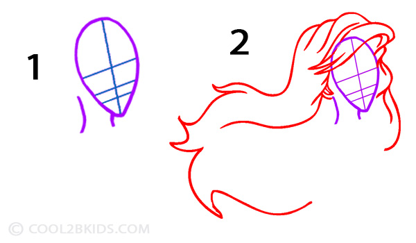 how to draw the little mermaid step by step easy