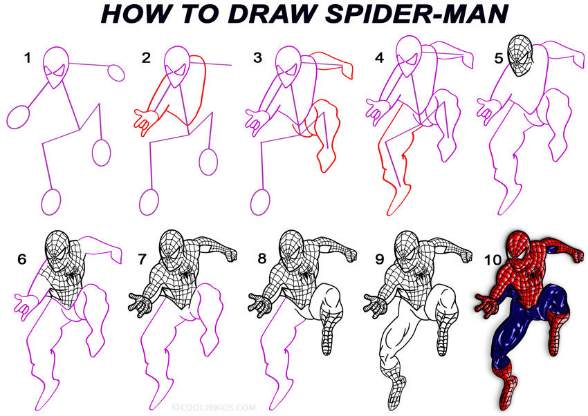 how to draw deadpool full body step by step easy