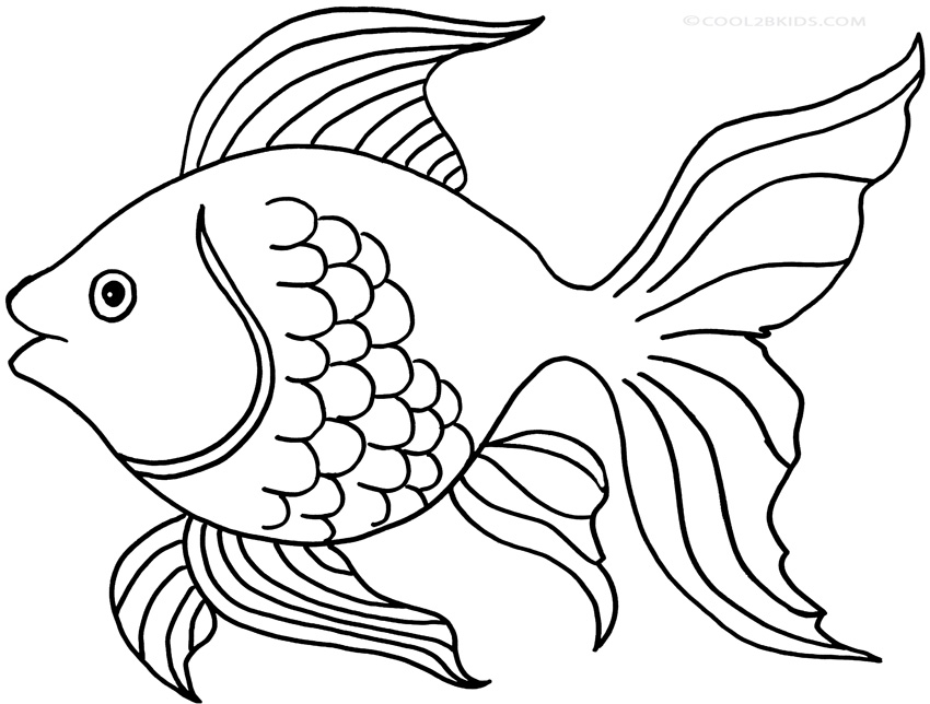 Printable goldfish coloring pages for kids cool2bkids for Printable fish pictures