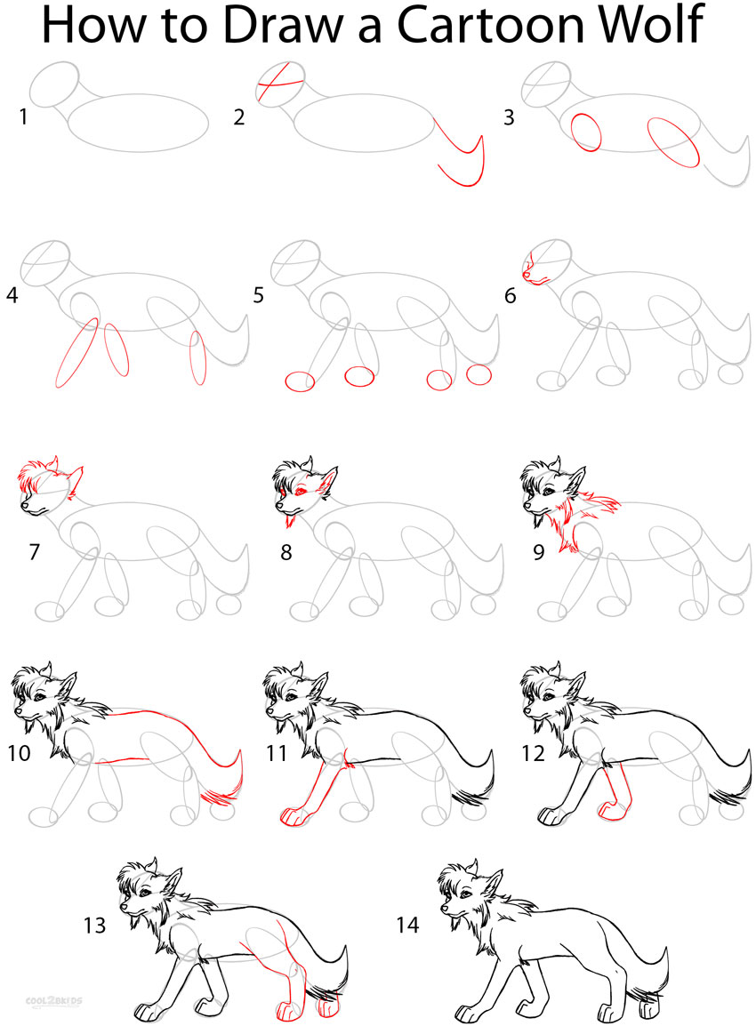 How to Draw a Cartoon Wolf (Anime Step by Step Pictures ...