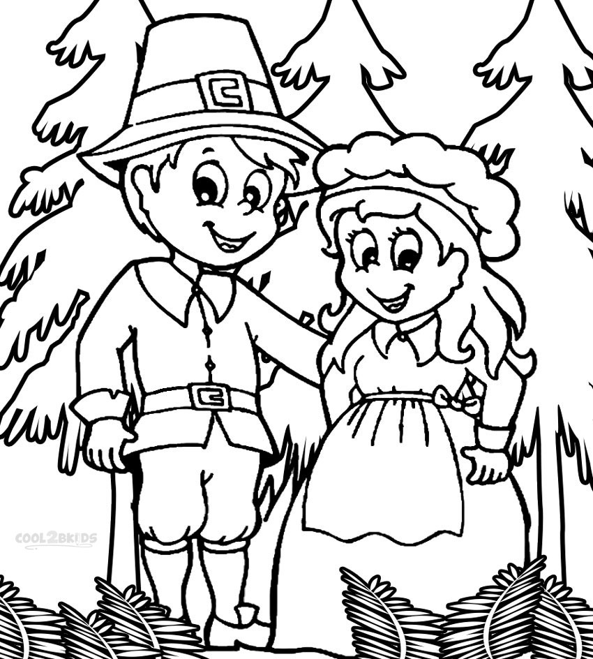Pilgrim Coloring Pages Printable Free
