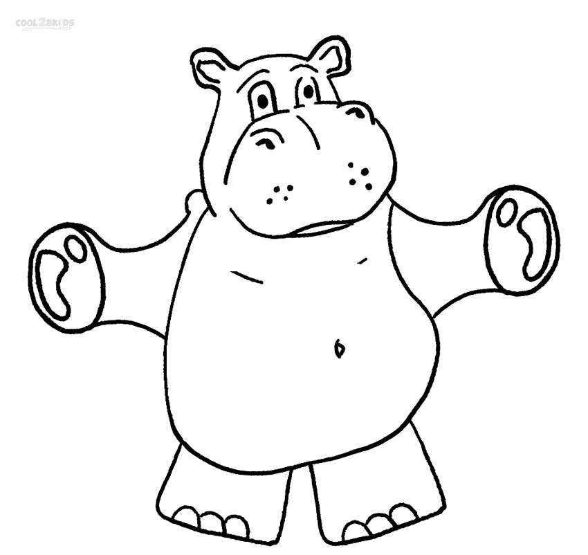 Hippo Colouring Pages