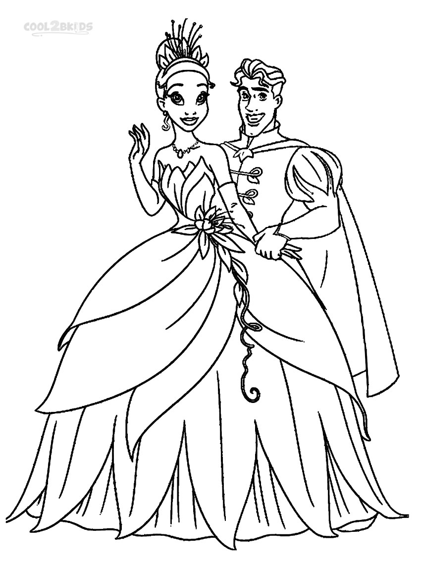 Coloring Pages Of Princess And The Frog : Printable princess tiana coloring pages for kids cool bkids