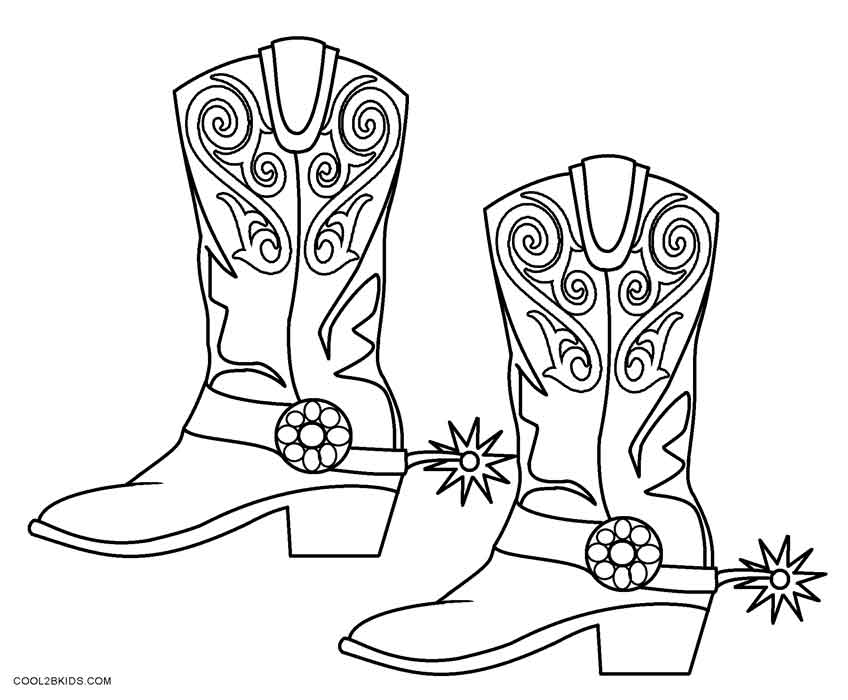 cowboy boot coloring - Cowboy Cowgirl Coloring Pages