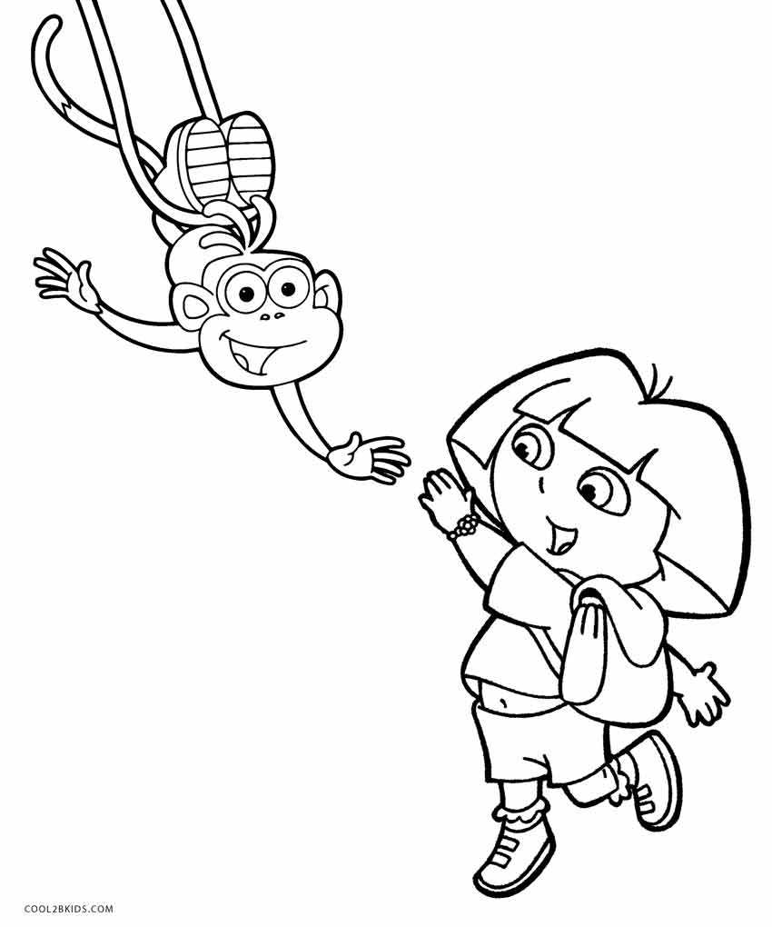 Dora The Explorer And Boots Coloring Pages