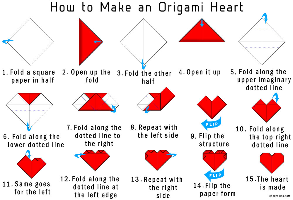 easy instructions to fold an origami red paper heart cool2bkids. Black Bedroom Furniture Sets. Home Design Ideas