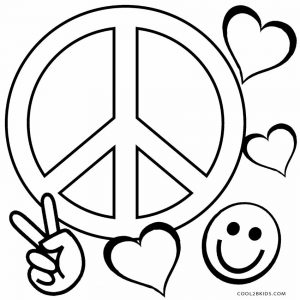 coloring pages peace love - photo#1