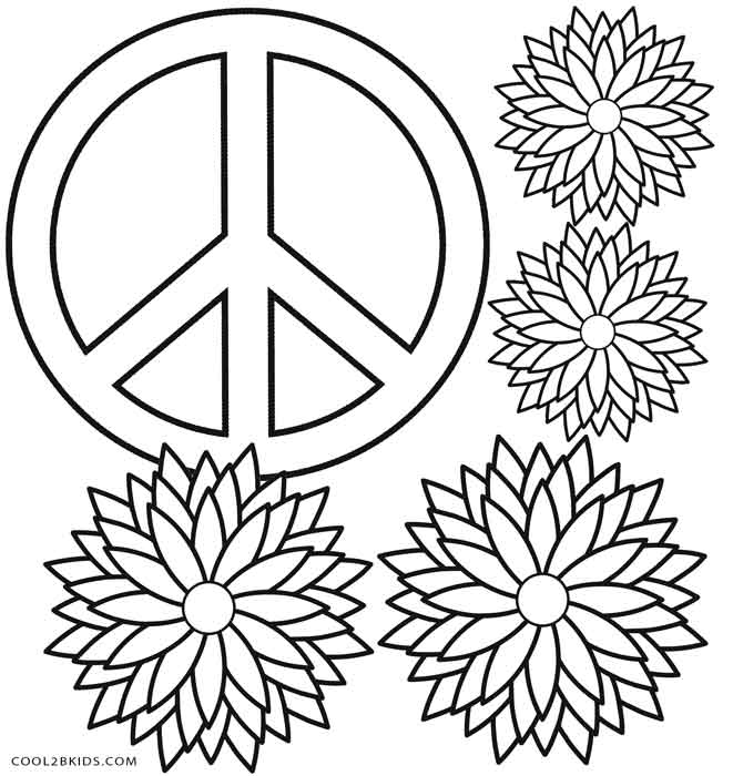 It is a photo of Nifty Peace Sign Coloring Page