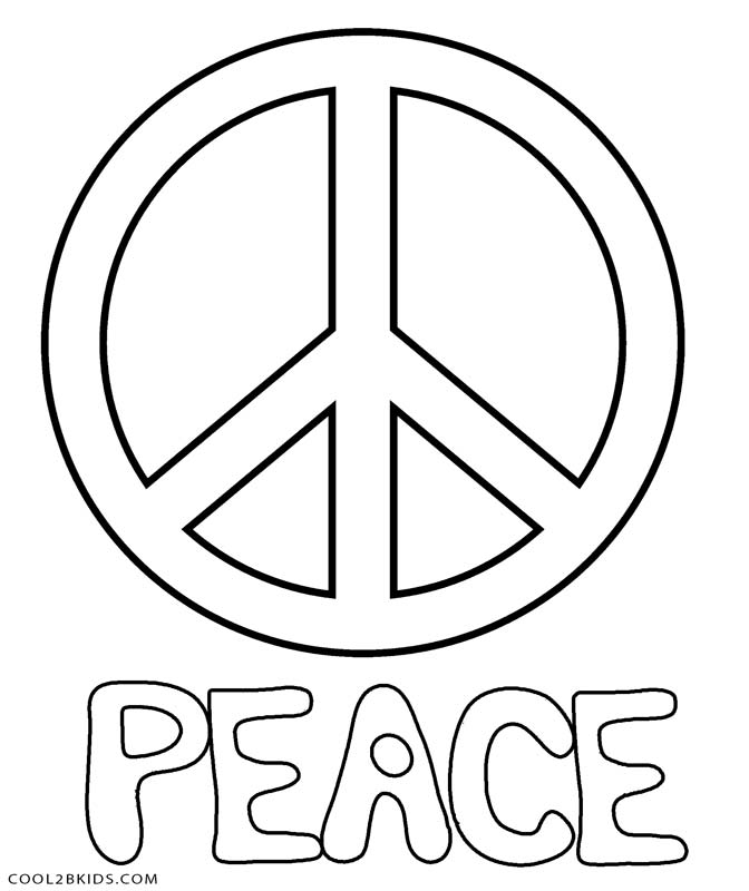 Small peace sign coloring pages ~ Peace Sign Coloring Pages Printable Sketch Coloring Page