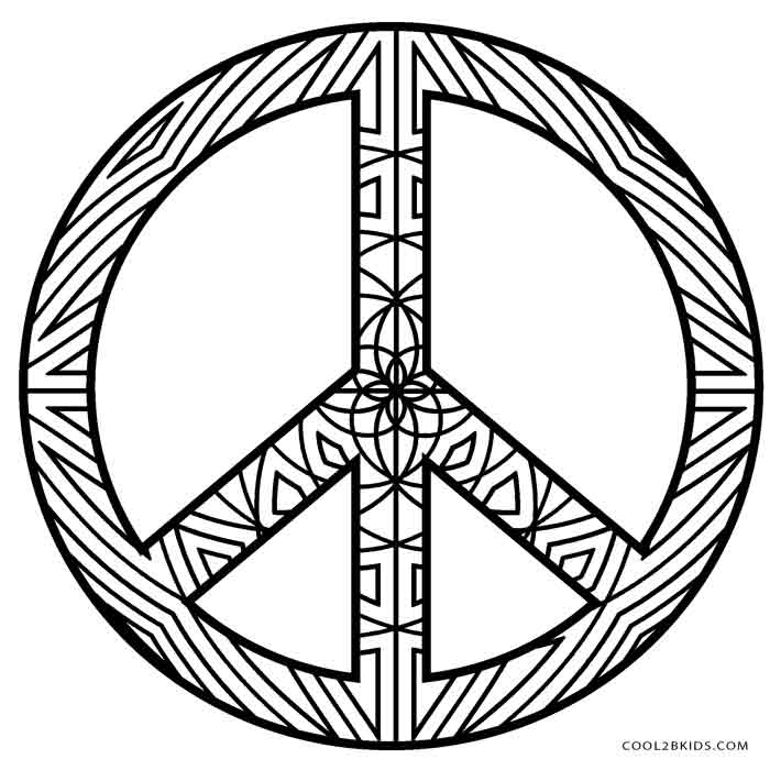 It is a graphic of Rare Peace Sign Coloring Page
