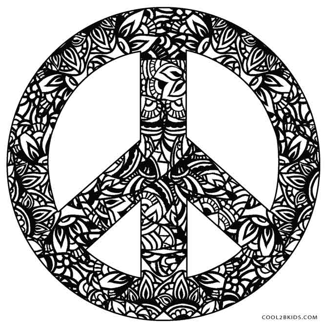 It's just a graphic of Current Peace Sign Coloring Page