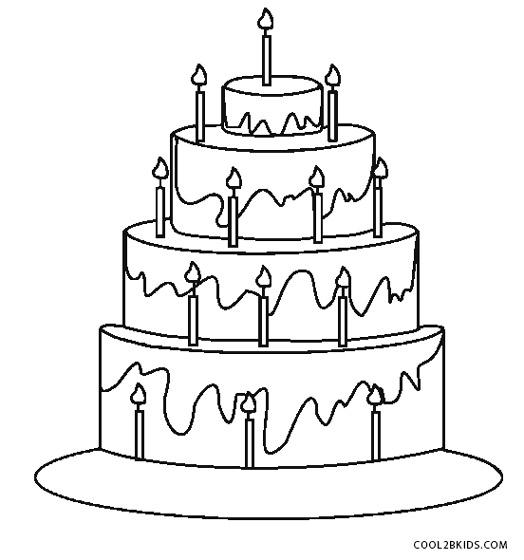 Free Printable Birthday Cake Coloring