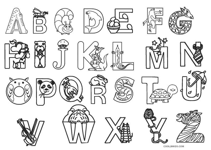 abc coloring pages to print | Printable Alphabet Book Page Coloring Pages
