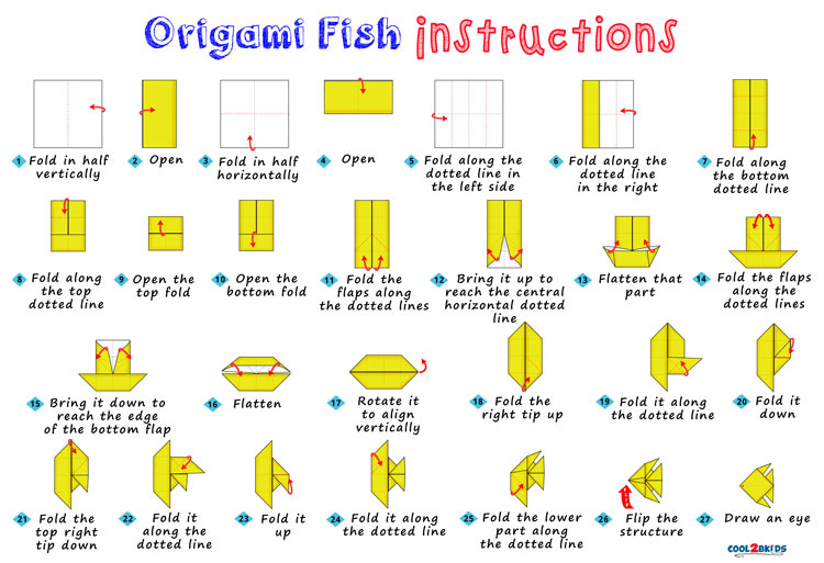 how to make an origami fish step by step cool2bkids
