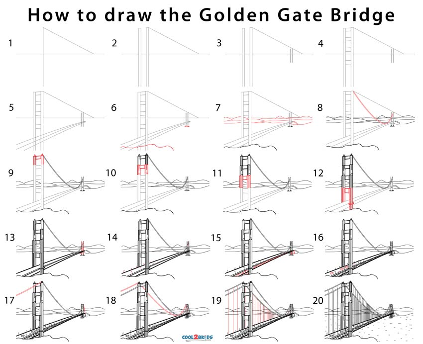 how to draw the golden state bridge